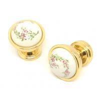 COPPIA POMOLO PER PORTA VALLI E VALLI K144 Oro Zecchino Ceramica Bianca Fiorata