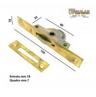CREMONESE CHIUSURA PER FINESTRE PIASTRA mm.150x18 QUADRO mm.7 MARTELLINA INCASSO