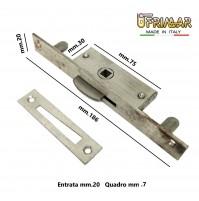 CREMONESE CHIUSURA PER FINESTRE PIASTRA mm.186x20 QUADRO mm.7 MARTELLINA INCASSO