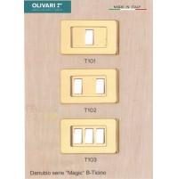 Coprinterruttore Olivari T102 Danubio Ottone Lucido 2 Tasti