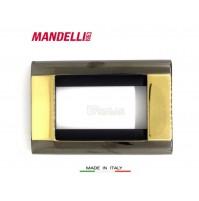 Coprinterruttore Placca Mandelli art.131 Gold Black  3 posti Living Bticino