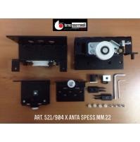 GUARNITURA COMPLETA 521/904 TERNO PER ANTE SCORREVOLI ESTERNE SP.MAX mm.22