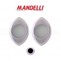 KIT MANIGLIE INCASSO PER PORTA SCORREVOLE MANDELLI  CLIP 368T (26D) CROMO SAT.