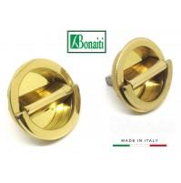 Kit maniglie incasso Bonaiti MTA doppio anello girevole Ottone Lucido D.mm.48