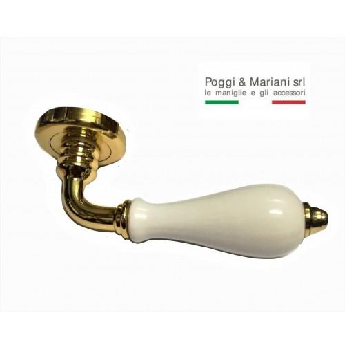 MANIGLIA MARTA ART. 300R POGGI E MARIANI PORCELLANA BIANCA + ORO LUCIDO CERAMICA