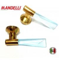 MANIGLIA PER PORTA MANDELLI serie ALEA 3001 ORO + ACQUAMARE design Paolo Nava