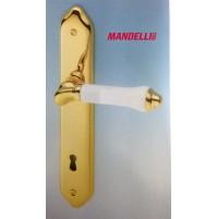 MANIGLIA PER PORTA MANDELLI serie BRUMA 600 ORO + PORCELLANA CON PLACCA D.70