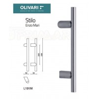 MANIGLIONE OLIVARI STILO L190M INCLINATO L.mm.338 CROMO OPACO design ENZO MARI
