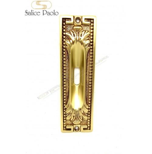 Maniglia incasso porte scorrevoli Salice 4297 Ottone Antico con foro chiave