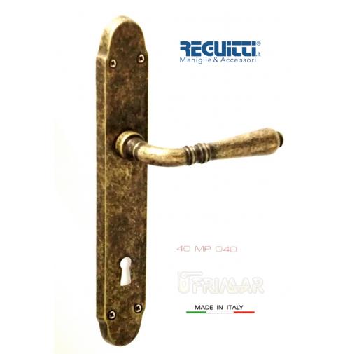 Maniglia per porta Ottone Antico serie GINEVRA Reguitti Art.40MP con placca