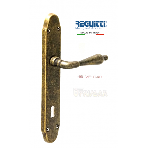 Maniglia per porta Ottone Antico serie MARY Reguitti Art.46MP con placca Patent