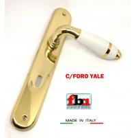 Maniglia porta FBA Licia 1390 Oro lucido  Porcellana filo oro placca foro Yale