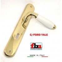 Maniglia porta FBA Licia 1391 Oro lucido  Porcellana bianca placca foro Yale
