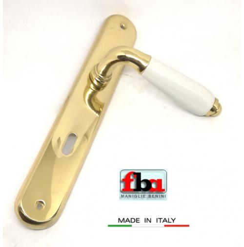 Maniglia porta FBA Licia 1391 Oro lucido e Porcellana D.70 placca foro patent