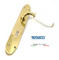 Maniglia porta Reguitti Cinzia Oro lucido e Porcellana Bianca D70 placca patent