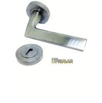 Maniglia porta moderna cromo satinato con bocchette d.55  coppia maniglia porta