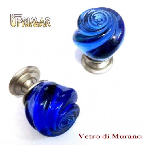 POMELLO VETRO MURANO D.mm.25 BLU LUCIDO con base NICHELATO OPACO Made in Italy