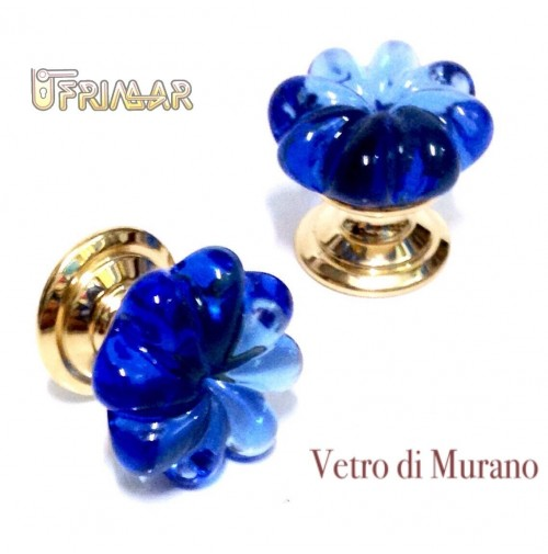 POMOLO IN VETRO DI MURANO D.mm.25 BLU LUCIDO con base ORO LUCIDO Made in Italy