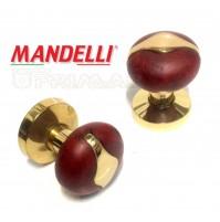 POMOLO PER  PORTA MANDELLI  DUO ART.3114 LEGNO RADICA + OTTONE LUCIDO