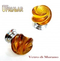 POMOLO VETRO DI MURANO Made in Italy  D.mm.30 AMBRA LUCIDO base CROMO LUCIDO