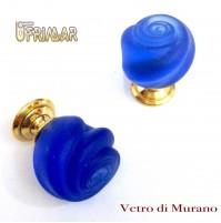 POMOLO VETRO MURANO D.mm.25 BLU ACIDATO con base OTTONE LUCIDO Made in Italy