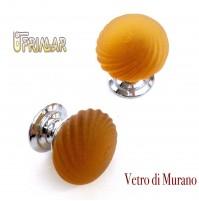 POMOLO VETRO MURANO D.mm.30 AMBRA ACIDATO con base CROMO LUCIDO Made in Italy