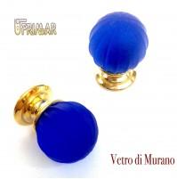POMOLO VETRO MURANO D.mm.30 BLU ACIDATO con base ORO LUCIDO Made in Italy