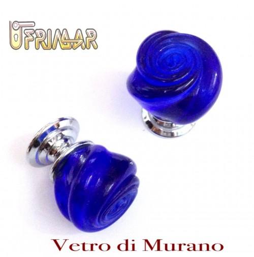 POMOLO VETRO MURANO Made in Italy  D.mm.30 BLU LUCIDO con base CROMO LUCIDO