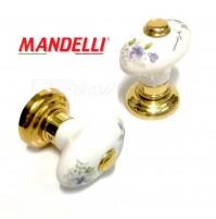 Pomolo Mandelli porcellana Art.614 Fin. Oro Lucido e Porcellana con Decoro porta