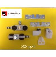 Scorrevoli Pettiti kit portata KG.80 S80 con Binario cm.150 pattini Monosilent
