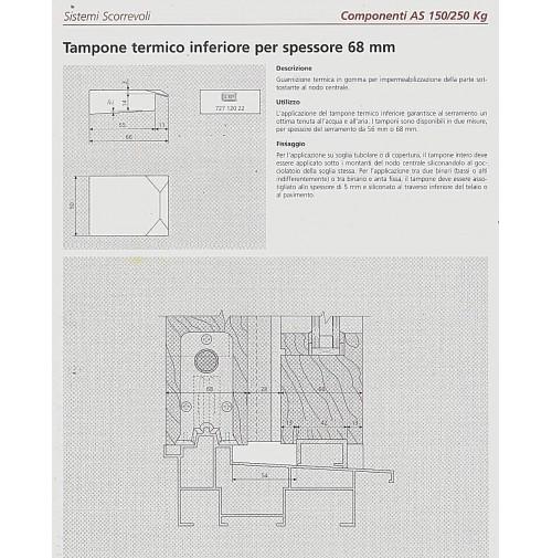 Tampone termico alzante scorrevole AGB G007280021 inferiore per spessore 68 mm